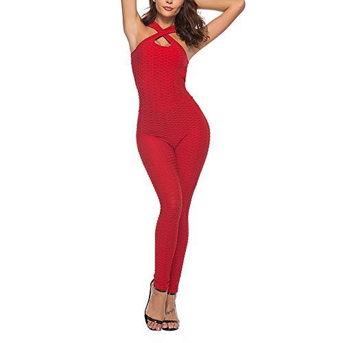 Waza Sportanzug für Damen, elastisch, atmungsaktiv, schnelltrocknend, hohe Taille, hohe Hüfte, rückenfrei, Sportbekleidung, Leggings für Yoga Pilates Fitness, Rot S