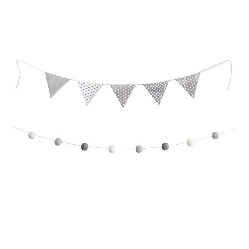 lilime® 1.9M Wimpelkette in Grau Inkl. GRATIS Girlande ideal für Dekoration im Kinderzimmer - Unsere Wanddeko für dein Kind - Super süße Deko für jedes Babyzimmer