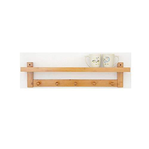 HJW Praktische opbergrek Bamboe Hangende Entryway Plank met Haken Slaapkamer, Hal, Kantoor, Woonkamer, Keuken Opbergrek Display 1Huiyang-01020, Natuurlijk, 5 Haken – 72 Cm X 18 Cm