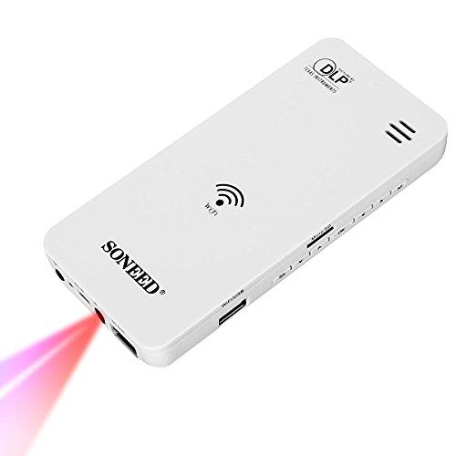 Wewoo Mini videoproiettore per iPhone Samsung Galaxy Sony Huawei SISTEMA iOS/Android/Windows/Mac OS 50lumen sp-500W Bianco Proiettore DLP multimediale Wireless WiFi Cinema