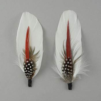 Zucker - Hat Feather Trims - Roaring 20s Flapper Style Feather Pick - Costume - Cosplay - Millinery - Floral Arrangements - White/Red - Goose & Pheasant