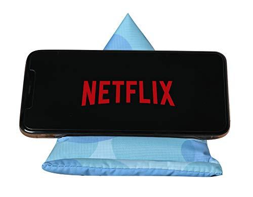 GAX Jango Beans Bag Mobiele Houder - Zacht Kussen Tablet Desktop Stand | Verstelbare Hoek | Compatibel met verschillende iPad Mini en andere SmartPhones, Blauw