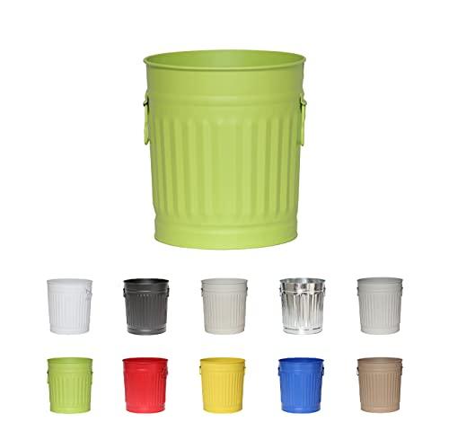 Jinfa® | Cubo de basura vintage de metal con asas | Verde | Tamaño: S | 21 cm de diámetro, 21,5 cm de altura | Volumen: 7 Litros
