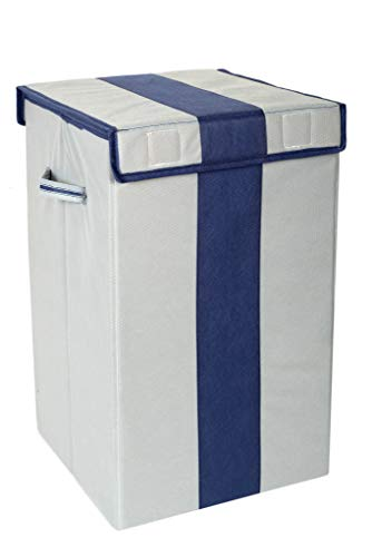 HomeStrap Non Woven Foldable 68 Ltrs Laundry Bag / Storage Basket / Bin with Lid and Handle for Washing Clothes , Baby Toys Box , Dirty Dress (Grey & Navy Blue)