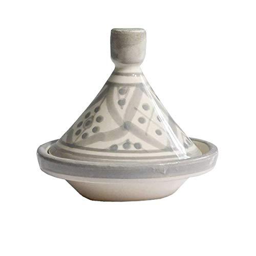 ZH ZocoHome Mini Tajín Marroquí   Hecho a Mano en Marruecos   Blanco y Gris  Hecho de Cerámica   8 x 8 cm
