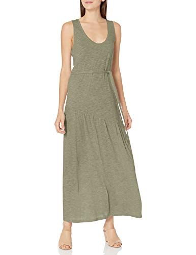 Lucky Brand Women's Sleeveless Crew Neck Eliza Belted Maxi Dress