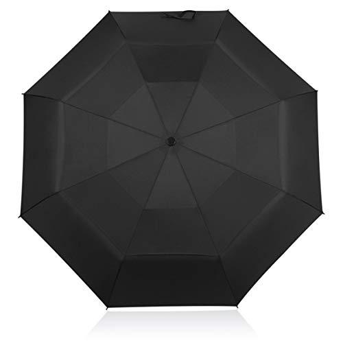 DORRISO Automático Abrir/Cerrar Paraguas Plegable Viajar Dosel Doble Construcción y Resistente al Viento Impermeable 8 Varillas Reforzadas Mujer Hombre Compacto Viajar Paraguas