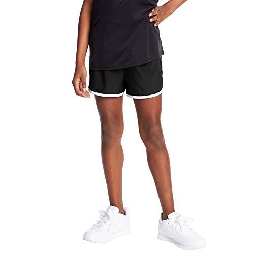 C9 Champion Girls' 2' Woven Running Shorts, Ebony/True White, M
