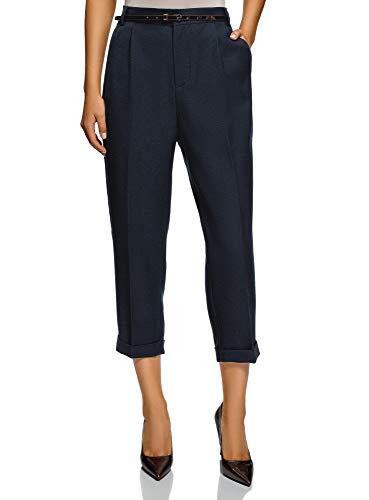 oodji Ultra Mujer Pantalones con Pinzas, Azul, ES 36 / XS
