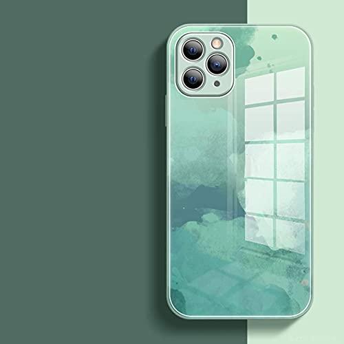 N\C Custodia per Cellulare ad Acquerello Iphone11, Iphone12 Series Silicone Liquido Vetro temperato Texture Marmo Modello Cielo Stellato (2 Pezzi)