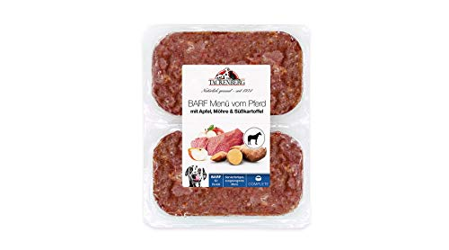 TACKENBERG Hundefutter Barf (Pferd + Apfel + Möhre + Süßkartoffel), Barf Futter, Frostfleisch Hunde