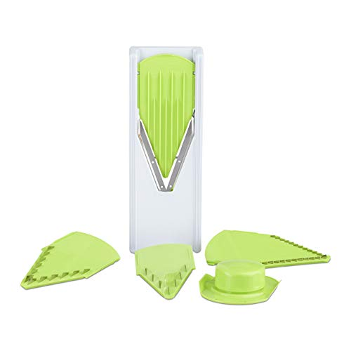 Relaxdays 10024692 Multi V Hobel, Verstellbarer Handschutz, 4 Aufsätze, Gemüsehobel, Edelstahl Klingen, Kunststoff, weiß/grün