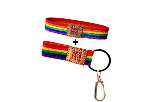 QUICKBOXX Braccialetto Gay Pride Elastico LGBT Pride con Colori Arcobaleno Transessuale Bisessuale Tessuto Appariscente Comodo ed Elegante Unisex
