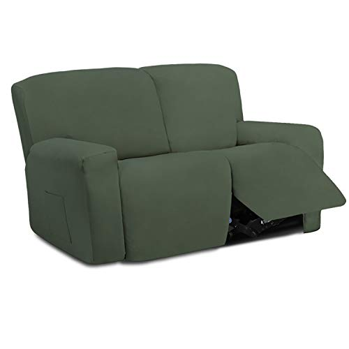 Easy-Going 6 Pieces Stretch Sectional Recliner Sofa Slipcover Soft Fitted Fleece 2 Seats Couch Cover Washable Furniture Protector with Elasticity for Kid(Recliner Loveseat, Greyish Green)