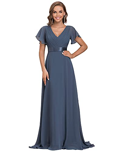 Ever-Pretty Damen Abendkleid Frau A-Linie Festliches Kleid V Ausschnitt Hochzeit lang Staubige Marine 36