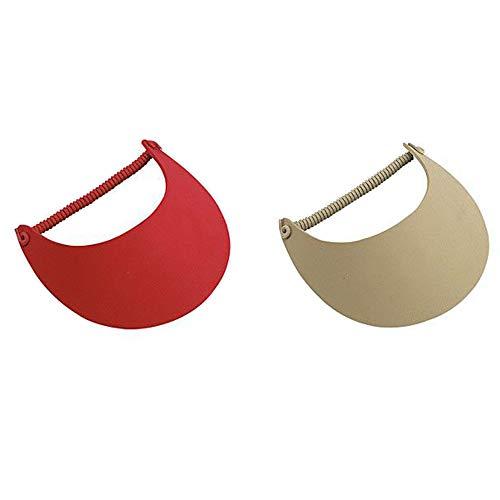 2-Pack Lightweight Foam Coil Sun Visor, Multi Color Options (One Size, Red-Khaki)
