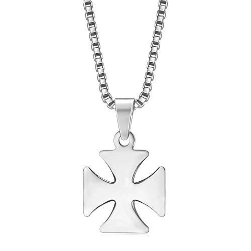 Bobijoo Jewelry – discrete hanger verguld 17 mm kruis gepatenteerd Tempelridder staal zilveren ketting