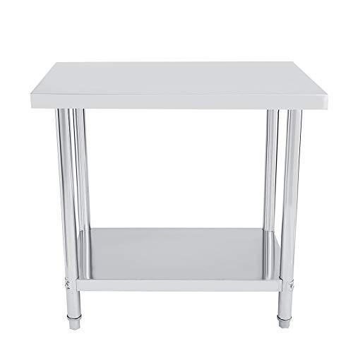 Consola de acero inoxidable de doble capa, mesa de trabajo de acero, desmontable para cocina, fábrica (91 x 61 cm, plana)