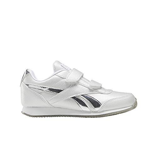 Reebok Royal CLJOG 2.0 2V, Zapatillas de Running para Niñas, Blanco/Plamet/Blanco, 27 EU