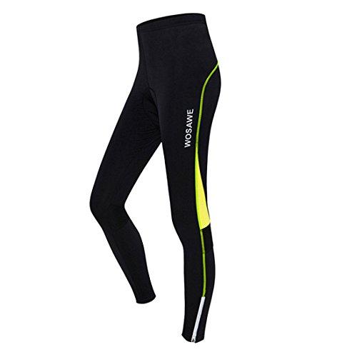GWELL Damen Lang Radhose mit Sitzpolster Gepolstert Radlerhose Atmungsaktiv Fahrradkleidung Sporthose grün XL