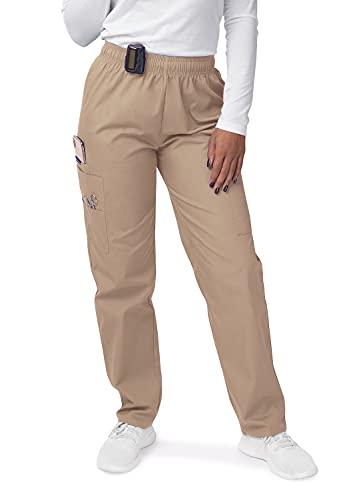 SIVVAN Scrubs for Women - Drawstring Cargo Scrub Pants - S8200 - Khaki - L