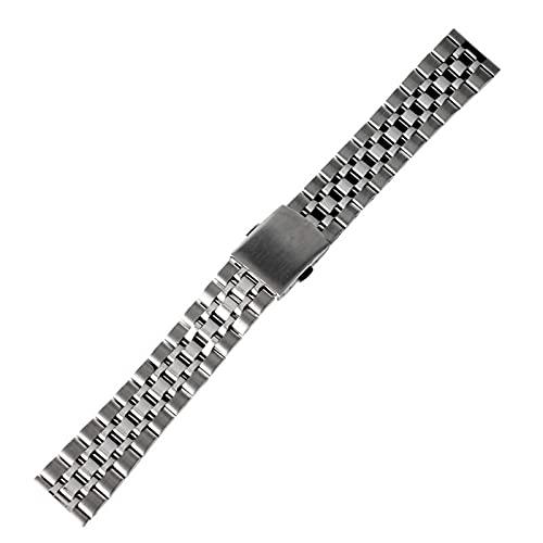 ZJSXIA Correa de reloj de 16 mm, 18 mm, 20 mm, de acero inoxidable, plata, de repuesto de oro, correa de pulsera de cuero (color: 16 mm, tamaño: oro)