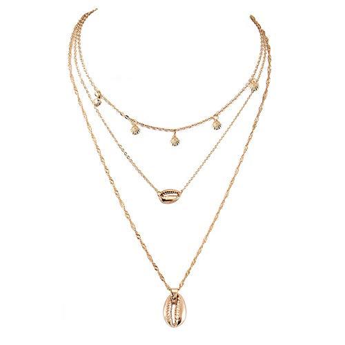 Xynhed Vintage Multilayer Goudkleurige kauri schelp choker halsketting vrouwen strand sieraden accessoires