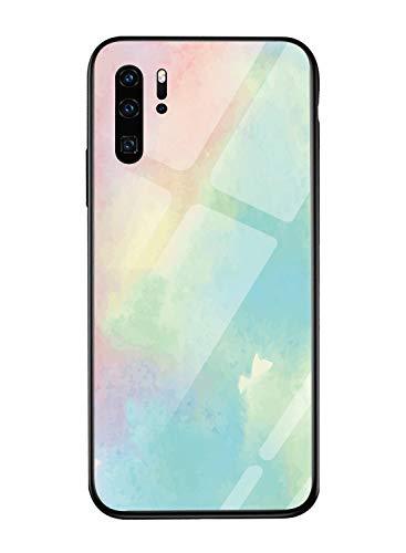 Oihxse Colorido Gradual Cristal Estilo Case Compatible con Huawei P10 Lite/Nova Lite Funda Vidrio Templado Trasera Carcasa Borde de Silicona Suave Protectora Ultra Fino Anti-arañazos