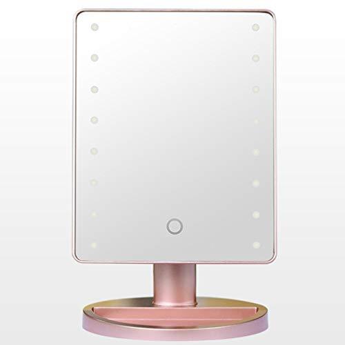 Espejo Vanidad Espejo de luz LED, LED de escritorio portátil de la batería del sensor táctil ajustable de almacenamiento Espejo de baño for el trabajo Vestir Espejo para maquillarse ( Color : Black )