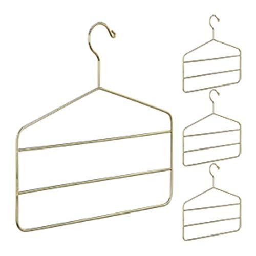 Relaxdays 4 Grucce Appendiabiti Multiple, per Pantaloni, Gonne, Sciarpe, Design Elegante, 4 mm, in Metallo, Oro