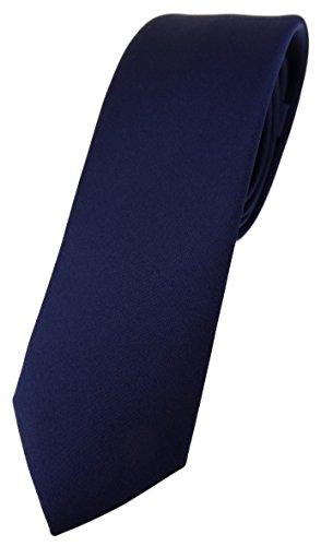 TigerTie schmale Designer Krawatte in marine einfarbig Uni - Tie Schlips