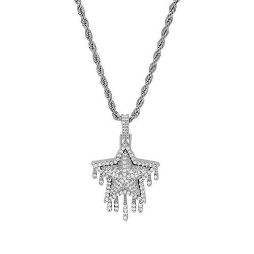 YGSM Hip Hop Anhänger Halskette,Stern Wassertropfen Lava Halskette Europäischer Und Amerikanischer Hip-Hop-Rap-Klassiker Hochwertiges Kupfer Handgefertigt Eingelegtes Zirkon-Silber