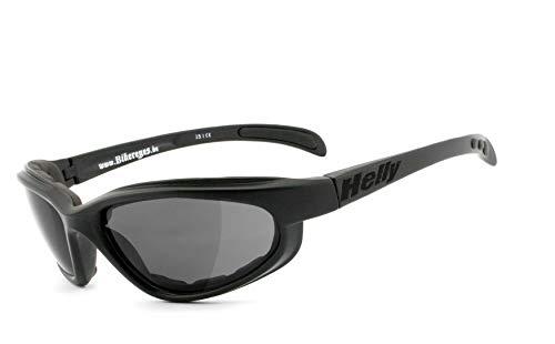 HELLY® - No.1 Bikereyes® | Bikerbrille, Motorradbrille, Motorrad Sonnenbrille | winddicht, gepolstert, beschlagfrei, bruchsicher | TOP Tragegefühl bei langen Ausfahrten | Brille: thunder 2