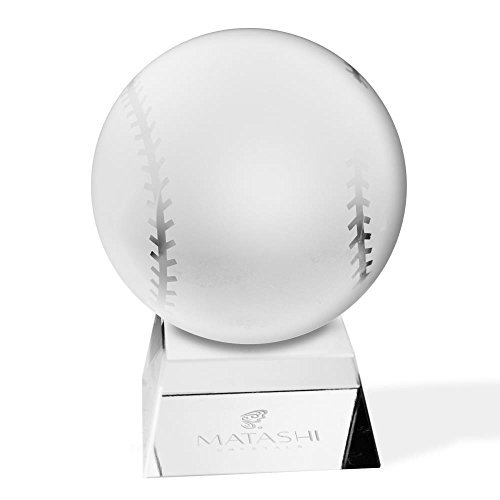 Matashi Crystal Paperweight for Desk with Etched Baseball Ornament and Trapezoid Base...