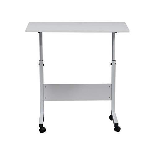 Overbed table Afneembare Spaanplaat En Staal Bijzettafeltje Met Bezel Witte Met Rol Hoogte Verstelbaar Lijst Van De Computer (Color : White)