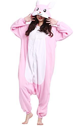 Pijama Animal Entero Unisex para Adultos con Capucha Cosplay Pyjamas Conejo Rosa Ropa de Dormir Traje de Disfraz para Festival de Carnaval Halloween Navidad