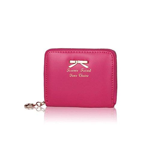 Toraway Wallet, New Hot Women Korean Cute Bowknot Zipper Purse Short Wallets Cluth Bags Handbags (Hot Pink)