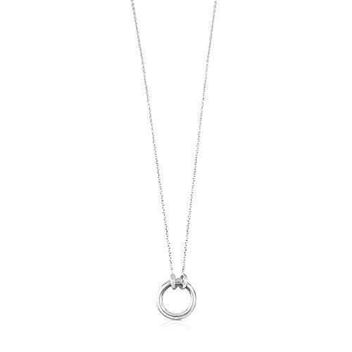TOUS Hold - Collar de Plata de Primera Ley con Anilla - Anilla: 1,6 cm, Largo: 43,5 cm