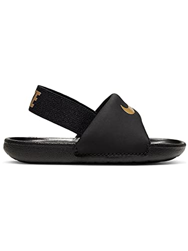 Nike Kawa Slide (TD), Sneaker, Negro/Metallic Gold, 22 EU
