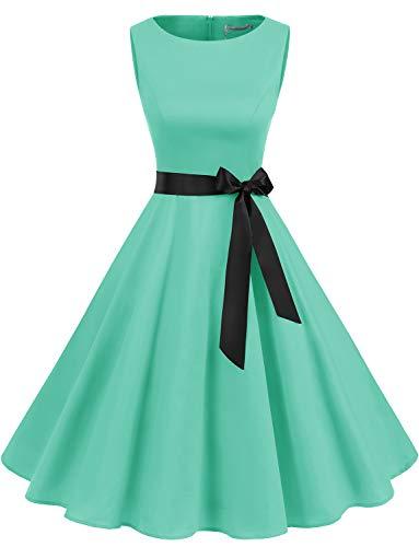 Gardenwed Mujer Audrey Hepburn Rockabilly Vintage Vestido 1950s Retro Cóctel Swing Fiesta Vestido Tiffany Blue 2XL