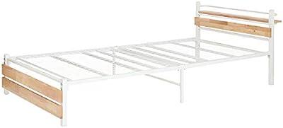 ヤマソロ ベッド ベッドフレーム シングル スチールベッド パイプ 天然木 宮付き 棚付き クロウ (ナチュラル/ホワイト)
