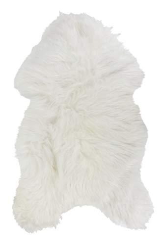 Vogar Tapis en Peau de Mouton véritable avec Laine Douce et épaisse VG-SH020, Blanc 90-100cm