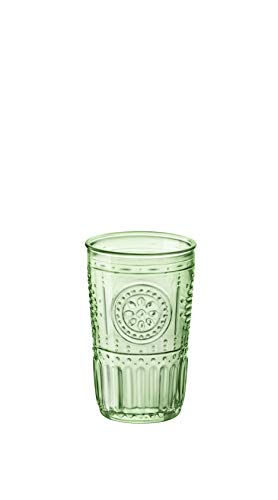 Bormioli Rocco Romantic Cooler Glass, Set of 4, 16 oz, Pastel Green