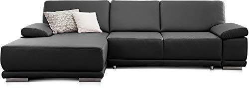 CAVADORE Schlafsofa Corianne / L-Form-Sofa mit verstellbaren Armlehnen, Bettfunktion und Longchair / 282 x 80 x 162 / Kunstleder, schwarz