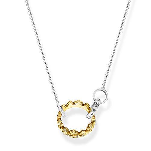 Thomas Sabo Women's Necklace with Crown Pendant, Bicolour 45 cm