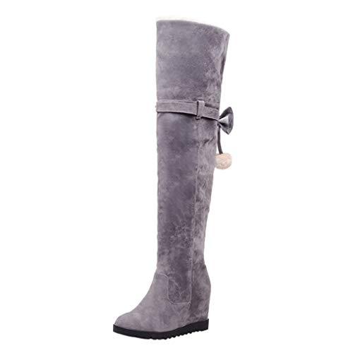 Logobeing Botas de Mujer Baratas Invierno Botas de Cuña Altas Zapatos Tacones Cuadrados Vintage Mujer Botas (43, Gris)