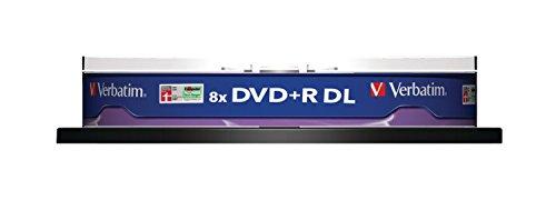 Verbatim 43666 8,5GB 8 x Dvd-R Double Layer Base in Argento Opaco, Confezione da 10 Pezzi