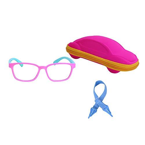 JoXiGo Kinder Brille Ohne Stärke Blaulichtfilter UV Blockieren TR90 Rahmen mit Einstellbare Brillenband + Brillenetui, Rosa Grün, S