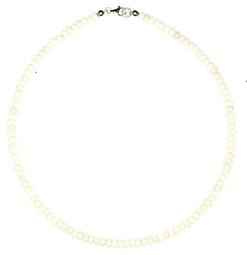 Jade Schmuck (Halskette) Jade Kette weiße Jade Linsen Größe ca. 6 mm Verschluss 925er Sterling-Silber Modellnummer 5140