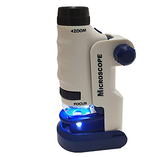 Pocket Microscope with LED Lighted 60x-120x, Microscope for Kids with Base and 3 Slides Zoom,Portable Mini Microscopes Micro for Learning Education and Exploring Gift